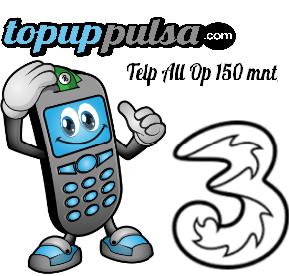 Paket Telp Tri Paket Telephone - THREE PAKET TELP 150 MNT
